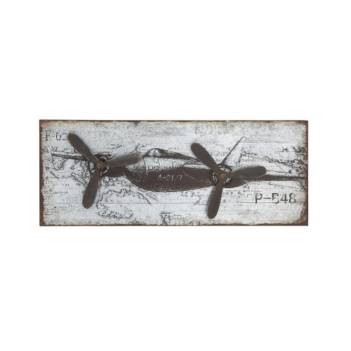 Fighter Plane with Metal Props Wall Art