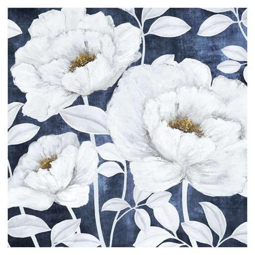 white blooms on navy wall art at giftopolis.ca