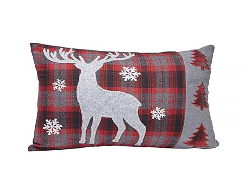 Rectangular deer cushion winter scene at giftopolis.ca