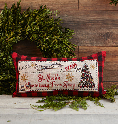 St. Nick Christmas vintage postage pillow with removable insert.  Red/Black plaid. Available at Giftopolis.ca   A Canadian owned and operated company.