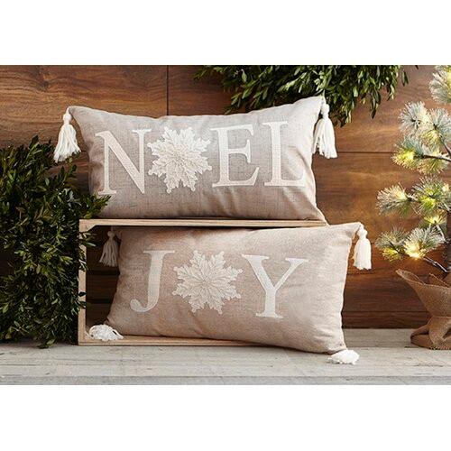 Joy Natural Christmas Pillow