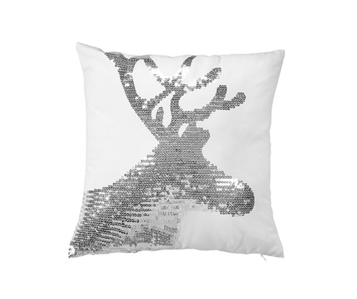 Reindeer silver sequined pillow