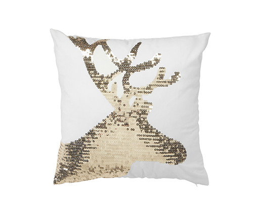 Gold reindeer sequinned decorative throw pillow