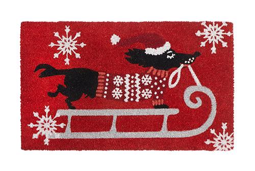 Christmas Sledding Dogs Coir Door Mat
