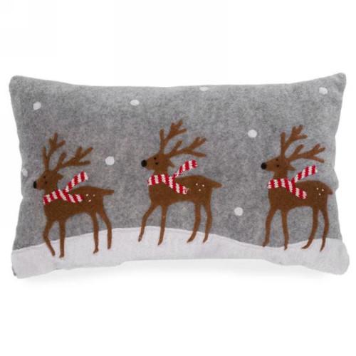 Christmas Holiday Bounding Reindeer Decorative Cushion