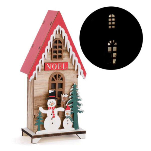 Christmas LED lighted accent snowman noel house