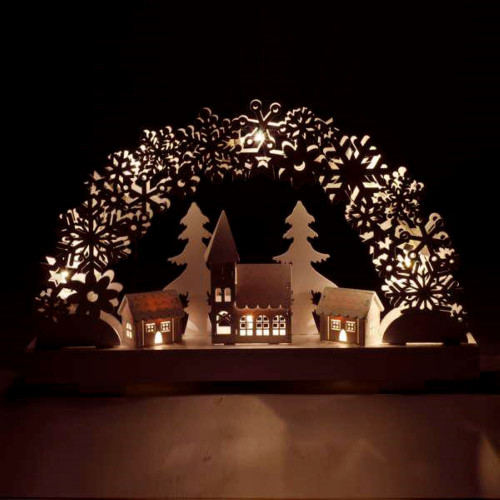 LED lighted village scene with church crafted in wood