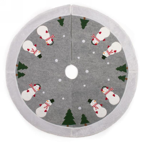 Warm grey with faux fur Snowman Christmas Tree Skirt 41 inches round