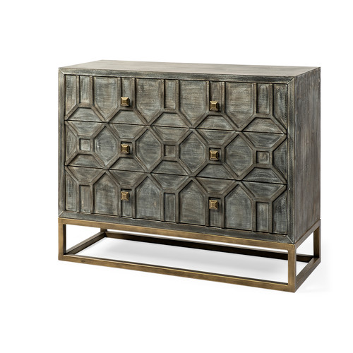 GENEVIEVE I 3 drawer chest side table accent cabinet 39 inches