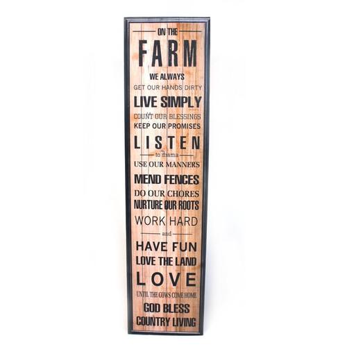 Farm house God Bless Tall Wooden Plaque
