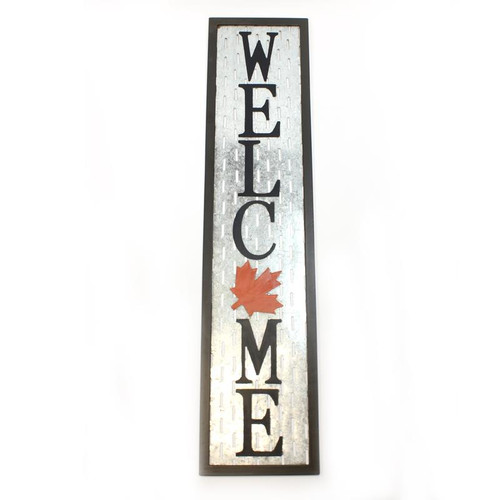 Tall Black Metal Welcome Sign Canadian theme