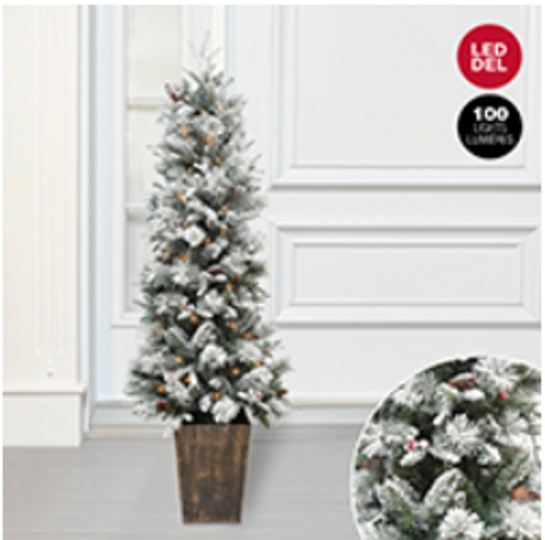 Giftopolis White/Green LED lit Pine Porch Tree- 2 feet by 2 feet by 5 feet.
