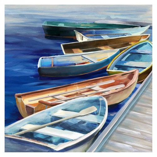Colourful Row boats 32 by 32 inches