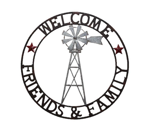 Frans Koppers Home WINDMILL CIRCLE Friends and Family 71cm Metal Sign