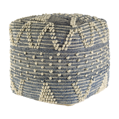 Mercana Rofi Blue Denim and Ivory Cotton Stitched Square Pouf