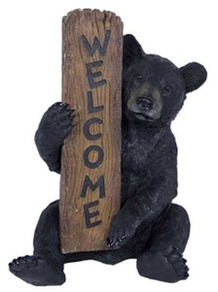 Black bear welcome statue