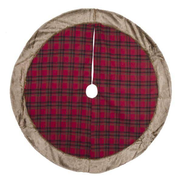 Christmas Red Plaid Fur Trim Tree Skirt
