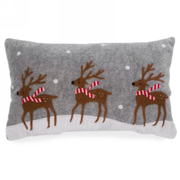 Christmas Holiday Bounding Reindeer Decorative Cushion