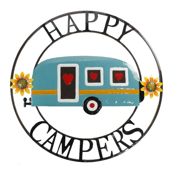 Colourful Happy Campers Round Metal sign