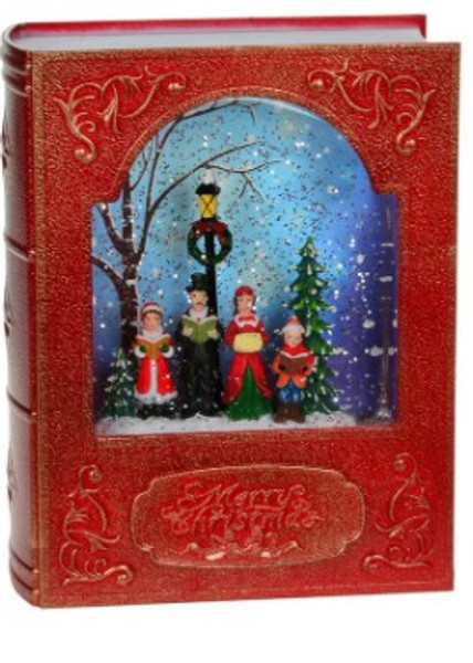 Merry Christmas Carolers Lighted Decorative Snow Globe Lantern Water Book