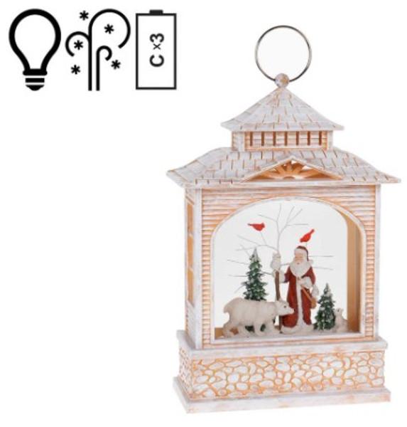 Woodsman Santa and Nature Animals Christmas Snow Globe Lighted Lantern