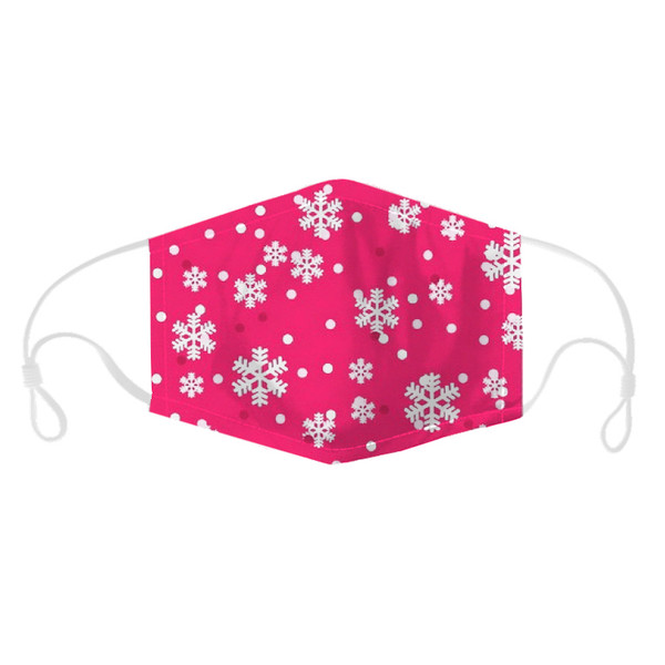 Christmas Pink Snowflake Adult Face Mask with adjustable straps