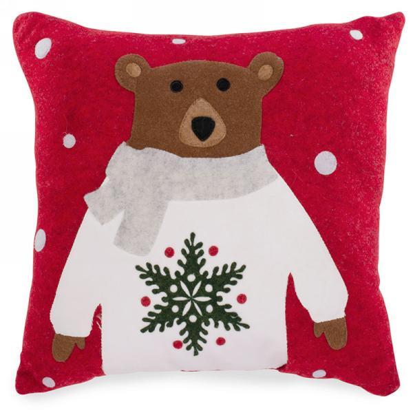 Bear with Scarf Red warm felt cushion