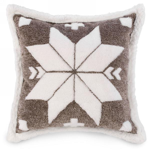 Gigantic snowflake Sherpa poly Cushion XL 20 by 20 inches