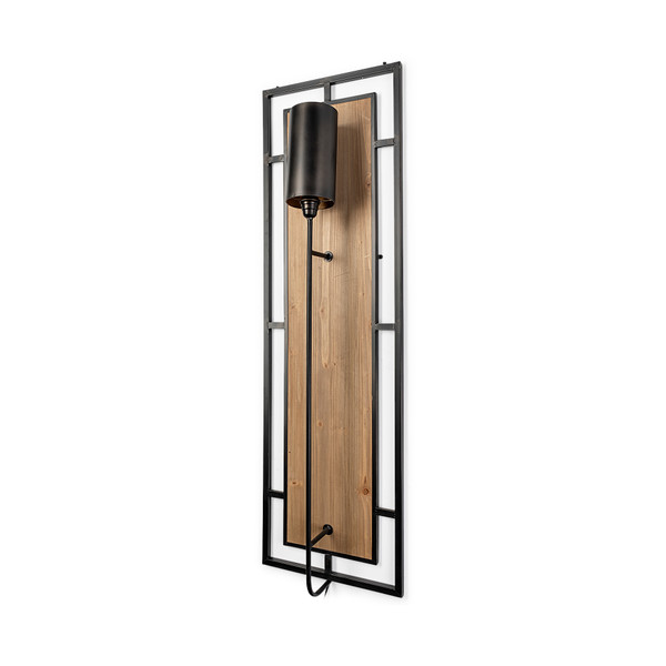Cleo 16.9x57.1 Black Metal and Wood Rectangular Wall Sconce