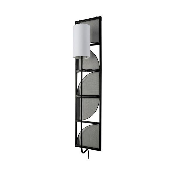 68985-AB - Navin 10x46.5 Black Metal Body White Fabric Shade Rectangular Wall Sconce