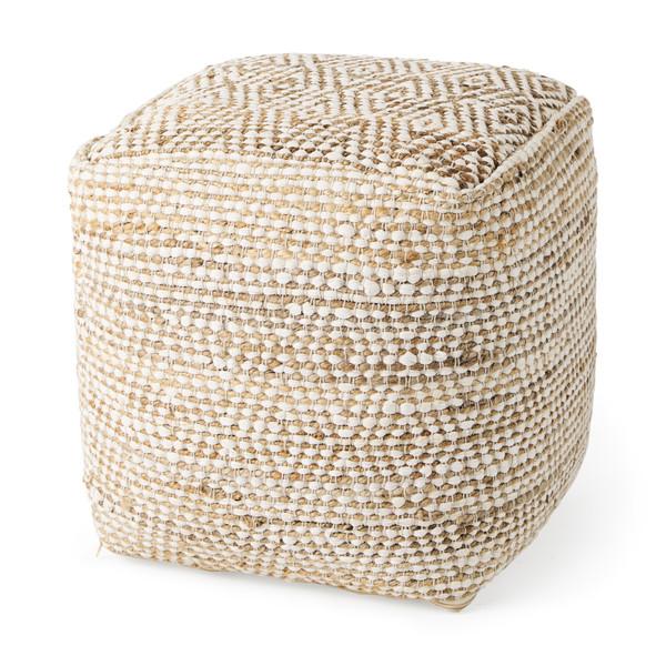 Mercanan Ekani 16.0L x 16.0W x 16.0H Cream/Beige Cotton Pouf