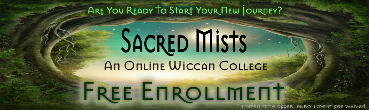Sacred Mists Wiccan College free enrollment.
