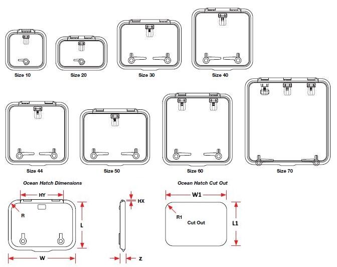Lewmar Hatch Dimensions