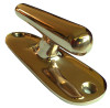 Polished bronze torpedo cleat.