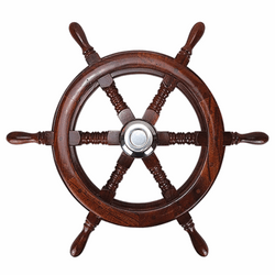 Teak Steering Wheel With Cap