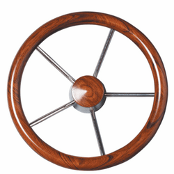 Stainless Steel Wheel with Mahogany Grip & Cap 350mm
