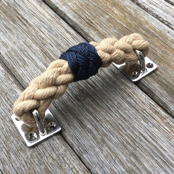 Rope Draw Pull Handle - Natural & Navy Blue