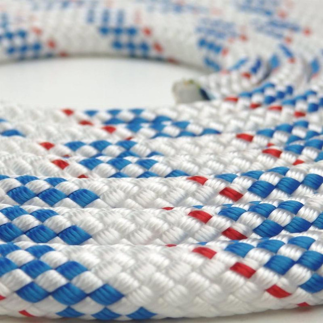 Newport Double-Braided Polyester Rope - Red/Blue Fleck (per metre)