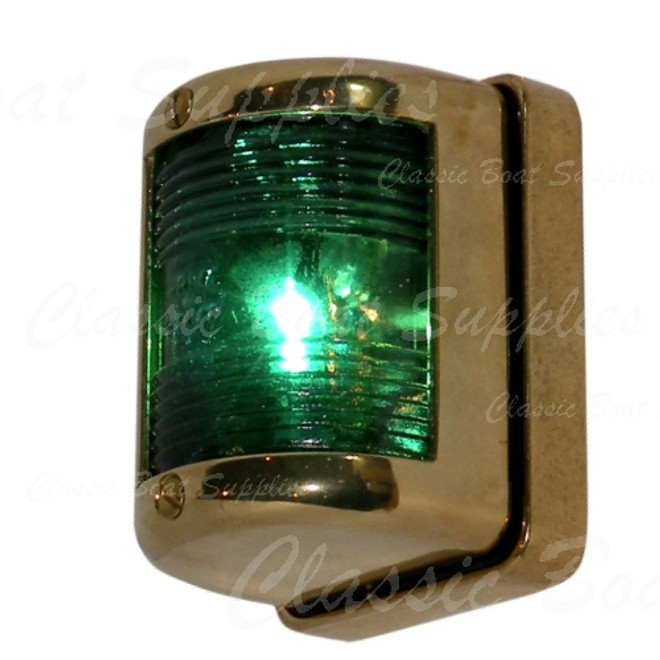 Polished brass navigation light - starboard