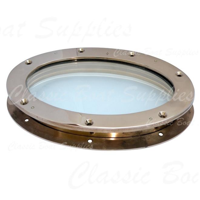 Fixed bronze portlight - oval