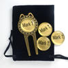 Each set comes with 4 removable magnetic ballmarkers and a velour pouch