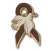 Brown Ribbon Dove Pin