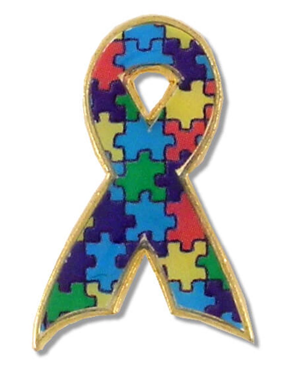 f284b3c9d15 Autism Puzzle Ribbon Lapel Pin