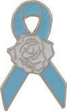 Blue Ribbon Rose Lapel Pin
