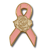 Pink Ribbon Rose Lapel pin