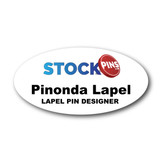 "Personalized 3"" x 1.5"" Metal Name Badge Oval White"