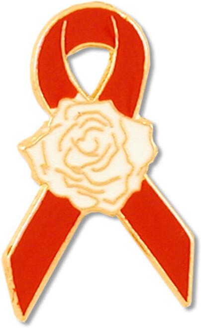 Red Ribbon Rose Pin