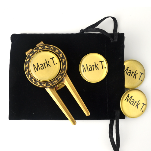 Your divot tool set comes with 4 personalized ballmarkers