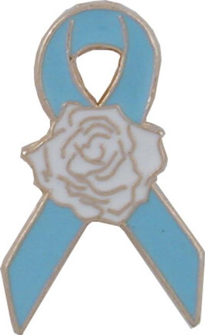 Blue Ribbon Rose Lapel Pin