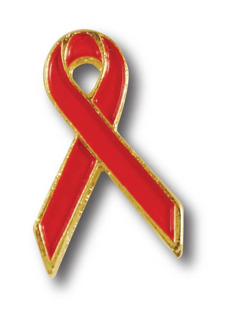 D07 AIDS Red Awareness Ribbon Lapel Pin